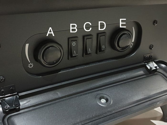 Electric Fireplace Controls Labeled