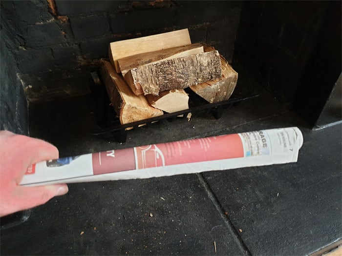 Fireplace Newspaper Rolled