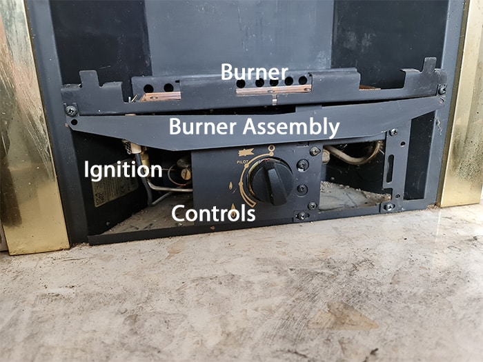 Gas Fireplace Burner Assembly Parts Labelled