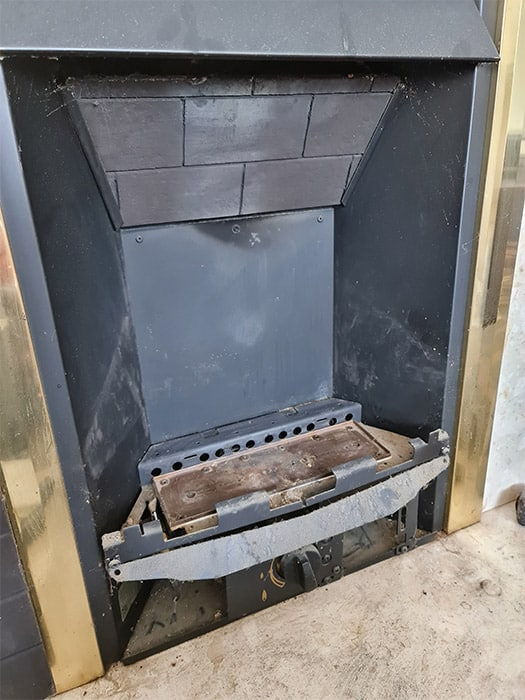 Gas Fireplace Panels Removed