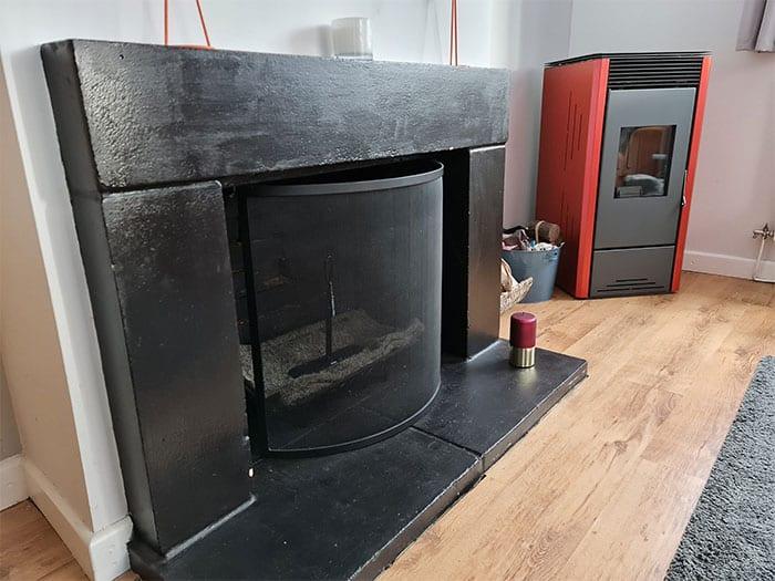 Pellet Stove & Masonry Fireplace
