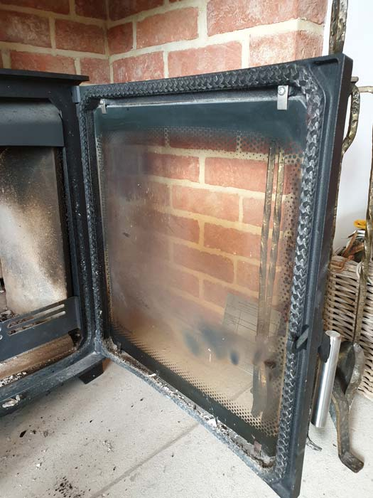 Wood Stove Glass Blackening With Air Wash